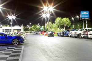 Front Parking Lot With Cars